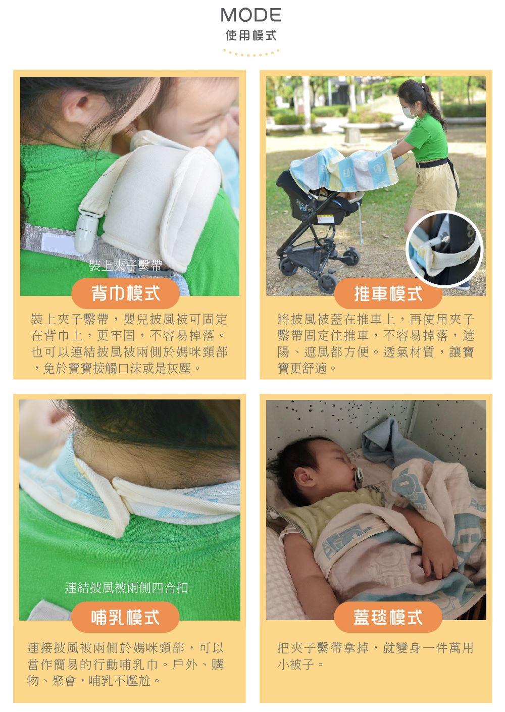 二重紗嬰兒披風被80x100cm 背巾防風被 推車防風罩 外出防護罩 行動哺乳巾